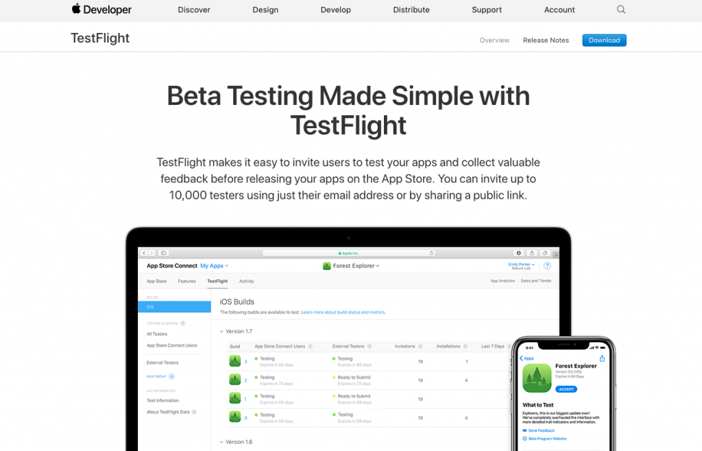 TestFlight beta testing tools