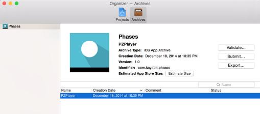 xcode organiser archive